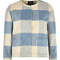 Blue brushed check cropped jacket