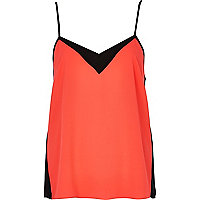 Pink and black colour block cami top