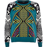 Teal mixed geometric print jumper