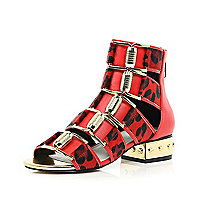 Red Katie Eary leopard metal heel sandals