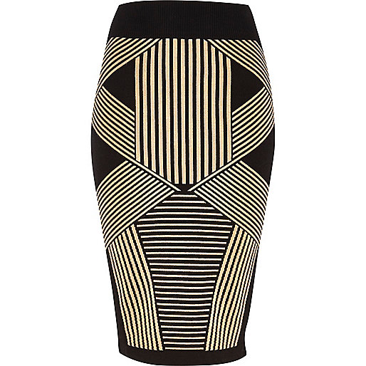Black geometric stripe knitted tube skirt