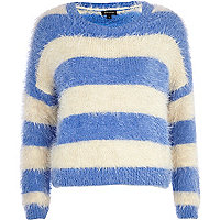 Blue and white fluffy stripe jumper