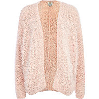 Light pink eyelash knit cardigan