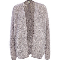 Light grey eyelash knit cardigan