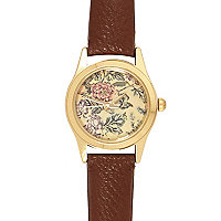 Brown floral print watch