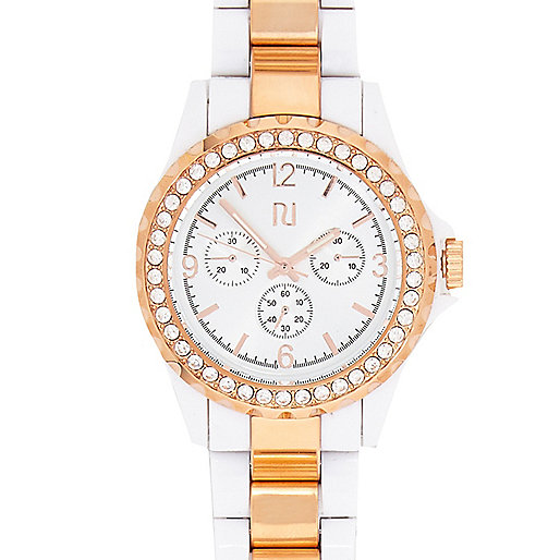 White two-tone bracelet watch