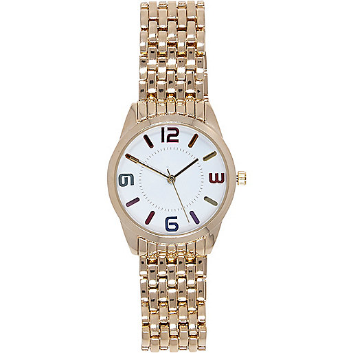 Gold tone rainbow number bracelet watch