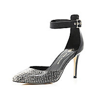 Black print two-part ankle strap court shoes
