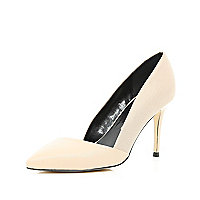 Light pink two-tone asymmetric court shoes