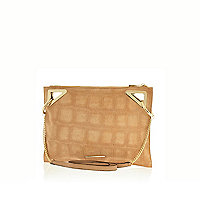 Beige textured suede cross body bag