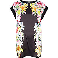 Black floral border print woven t-shirt