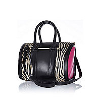 Black leather zebra panel tote bag