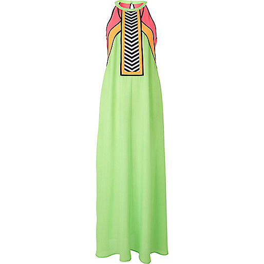 Green colour block maxi dress