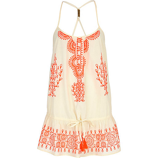 Cream embroidered drop waist cami dress