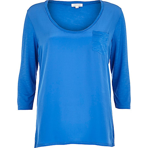 Blue woven front low scoop t-shirt