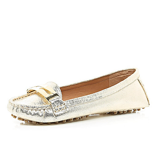 Gold metallic moccasin driving shoes