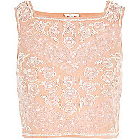 Light pink embellished square neck crop top