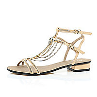 Light pink block heel chain trim sandals