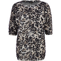 Grey animal print oversized fluffy t-shirt