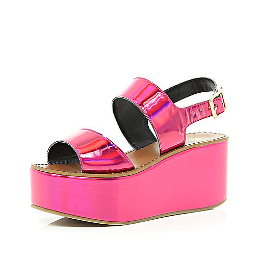 Bright pink holographic flatform sandals