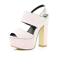 Light pink chunky platform sandals