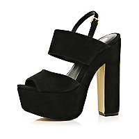 Black chunky platform sandals