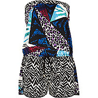 Blue mixed print bandeau playsuit