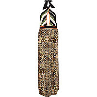 Brown leopard print wrap neck maxi dress