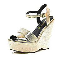 Gold snake wedge sandals
