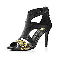 Black metallic strappy mid heel sandals