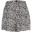 Black hexagon print high waisted shorts