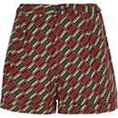 Red aztec print high waisted shorts