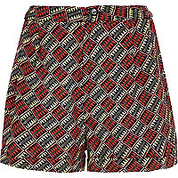 Red aztec print shorts