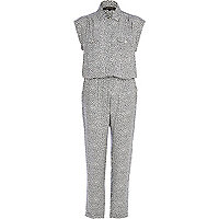 Black and white abstract print jumpsuit
