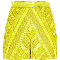 Yellow embellished high waisted shorts