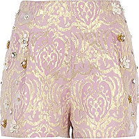Pink foiled flower embellished shorts
