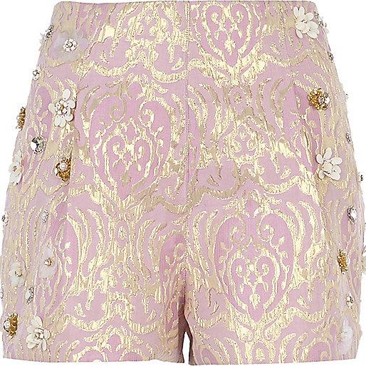 Pink foiled flower embellished shorts