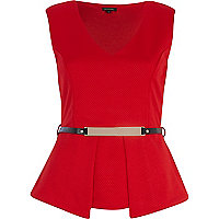 Red textured belted peplum top