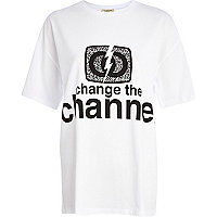 White change the channel t-shirt