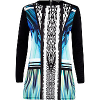 Blue graphic print woven front tunic