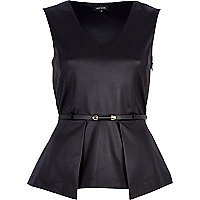 Black quilted belted peplum top