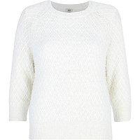 Cream fluffy diamond stitch jumper