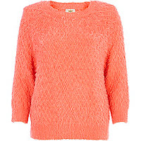 Coral fluffy diamond stitch jumper