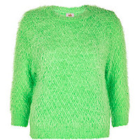 Green fluffy diamond stitch jumper