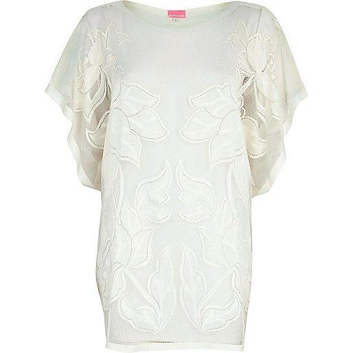 Cream floral mesh tunic