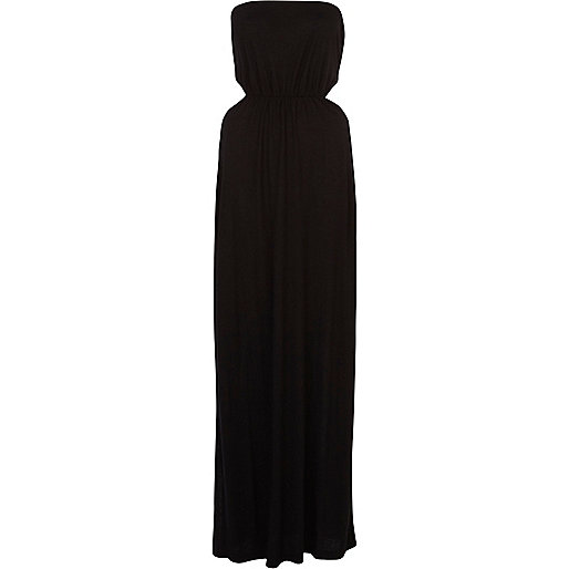 Black cut out side bandeau maxi dress