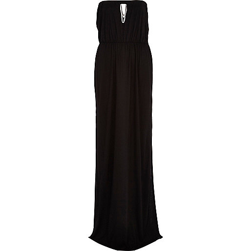 Black chain detail bandeau maxi dress
