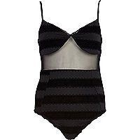 Black flocked sheer panel body