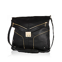 Black zip trim lock front messenger bag