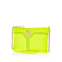 Lime cut out panel cross body bag